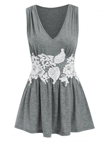 Lace Panel Ruched Peplum Tank Top