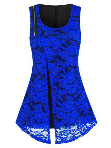 Plus Size Lace Zipper Flyaway Round Hem Tank Top - BLUE - 5X
