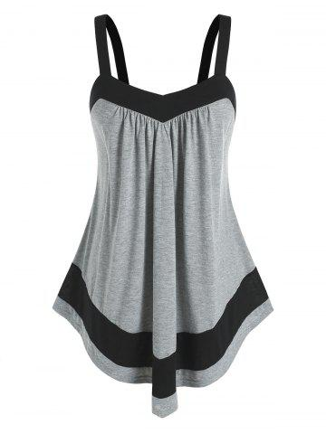 Plus Size Contrast Color Swing Tank Top - GRAY - 4X