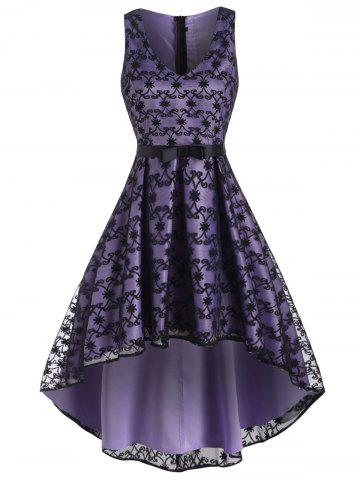 High Low Bowknot Waist Lace Party Dress