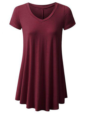 Plus Size Plain Short Sleeve Long Tunic Tee - DEEP RED - 5XL