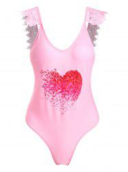 Lace Applique Plunge Heart Print Valentine Swimsuit -