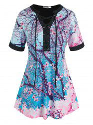 Plus Size Plum Blossom Floral Lace-up Cuffed Sleeve Tee -