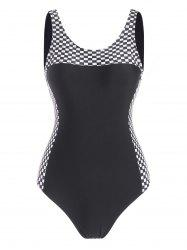 Open Back Checkered One-piece Swimsuit -