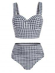 Gingham Side Boning Underwire Ruched Tankini Swimwear -