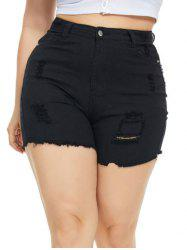 Frayed Hem Ripped Jean Plus Size Cutoff Shorts -