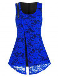 Plus Size Lace Zipper Flyaway Round Hem Tank Top -