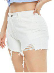 Distressed Frayed Plus Size Jean Cutoff Shorts -