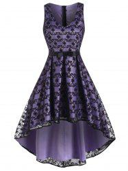 High Low Bowknot Waist Lace Party Dress -