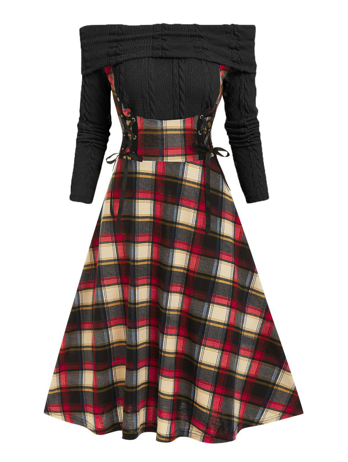 Affordable Off The Shoulder Lace Up Plaid  2 in 1 Dress