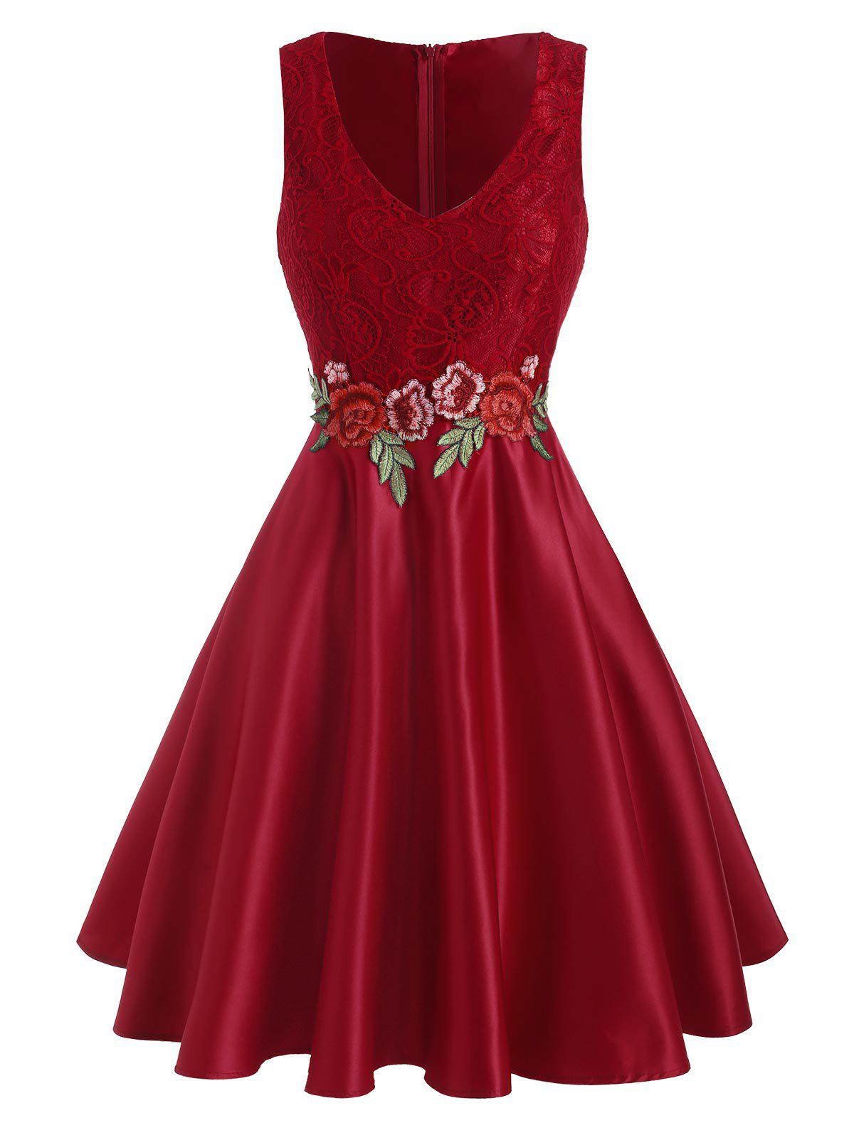 Discount Floral Embroidered Applique Lace Panel Party Dress