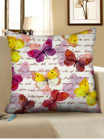 Letters Watercolor Butterfly Print Square Linen Pillowcase - WARM WHITE - W18 X L18 INCH