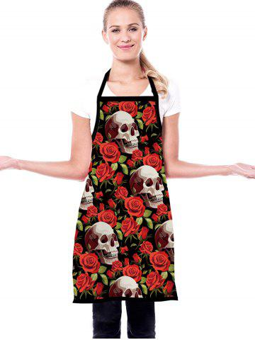 Skull Rose Print Waterproof Kitchen Apron - RED WINE - 72*60CM