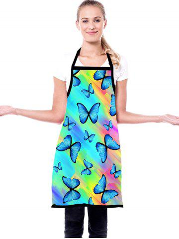 Rainbow Color Butterfly Print Waterproof Kitchen Apron