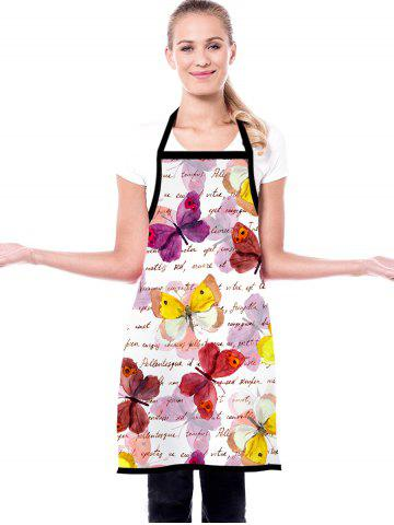 Butterfly Letters Print Waterproof Kitchen Apron - WARM WHITE - 72*60CM
