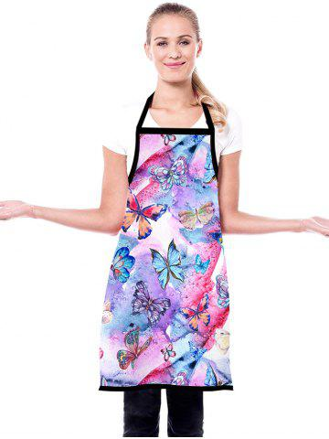 Painting Butterfly Pattern Waterproof Kitchen Apron - MAUVE - 72*60CM