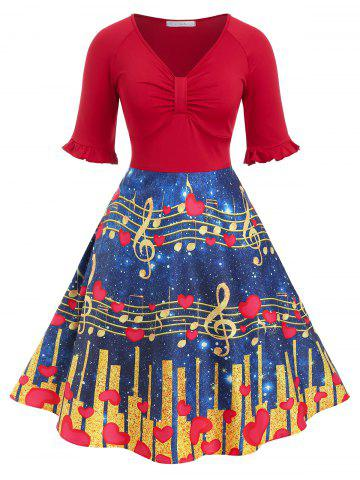 Plus Size Musical Notes Heart Print Vintage Flare Dress - RED - 1X