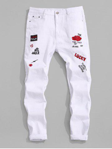 Floral Letter Embroidery Scratch Pencil Denim Pants