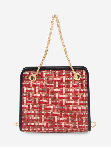 Tweed Plaid Square Chain HandBag - RED WINE