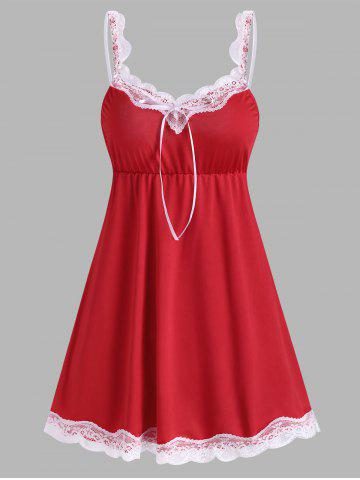 Lace Panel Chemise - RED - XXL