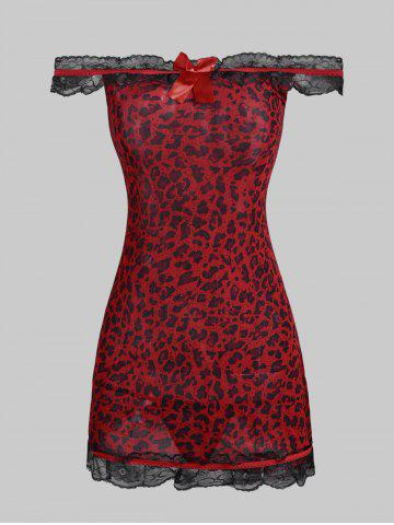 Off The Shoulder Lace Trim Leopard Frilled Dress