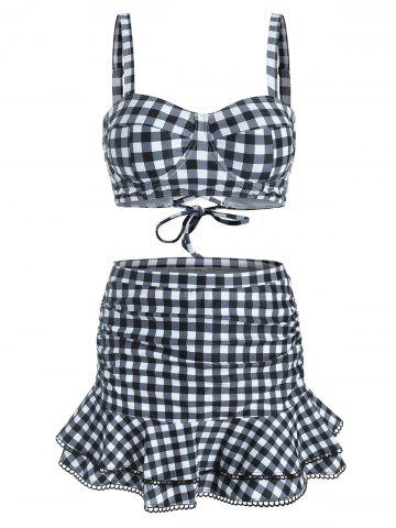 Gingham Underwire Flounce Ruched Picot Trim Three Piece Swimsuit