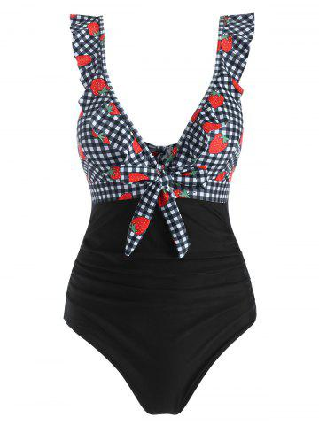 Ruffle Gingham Strawberry Print Knot One-piece Swimsuit