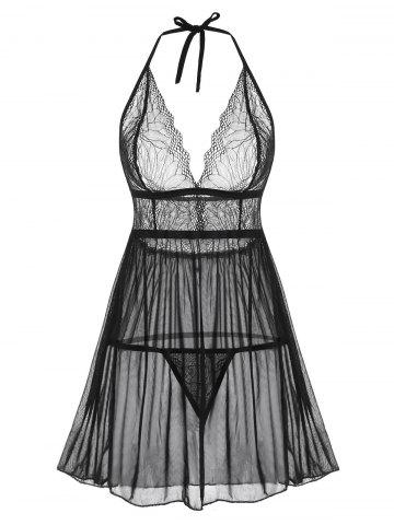 Halter Lace and Mesh Babydoll Set