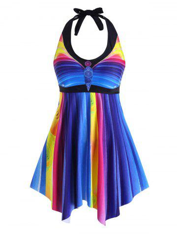 Plus Size Halter Colorful Striped Handkerchief Tankini Swimwear