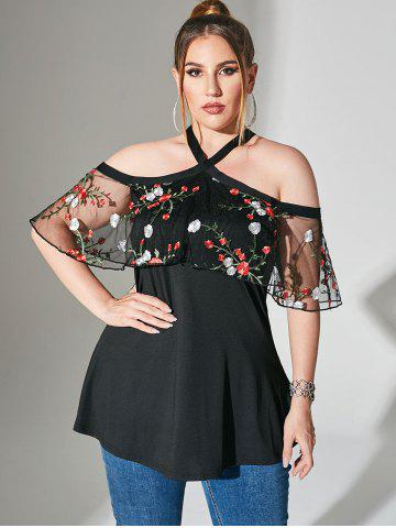 Foldover Mesh Floral Embroidered Cold Shoulder Plus Size Top