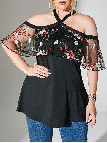 Foldover Mesh Floral Embroidered Cold Shoulder Plus Size Top - BLACK - L