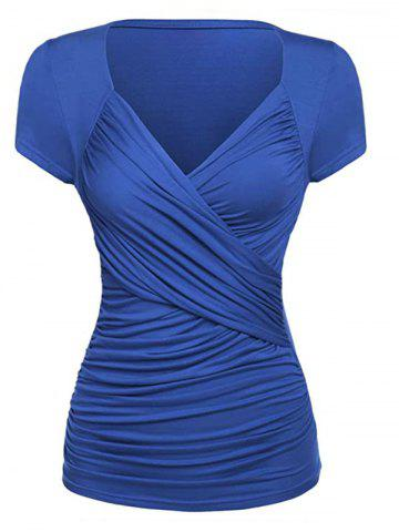 Plus Size Ruched Surplice Short Sleeve Tunic Tee - BLUE - 5XL