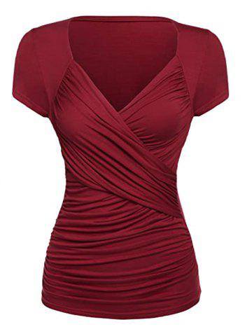 Plus Size Ruched Surplice Short Sleeve Tunic Tee - DEEP RED - XL