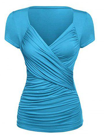Plus Size Ruched Surplice Short Sleeve Tunic Tee - LIGHT BLUE - 2XL