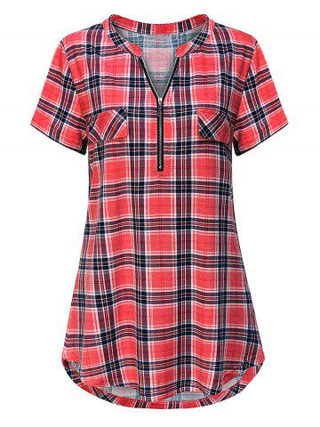 Plus Size Plaid Half Zip Curved Hem Tunic Tee - LIGHT PINK - 4XL