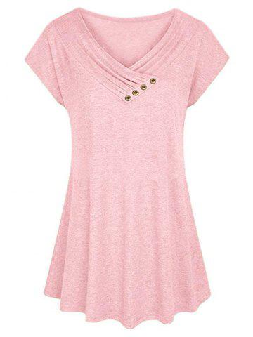 Plus Size Surplice Ruched Raglan Sleeve Tunic T-shirt - LIGHT PINK - 5XL