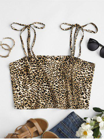 Plus Size Leopard Tie Shoulder Cropped Cami Top - MULTI - 3XL