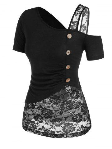 Mock Button Flower Lace Insert Ruched T-shirt - BLACK - XXXL