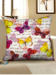 Letters Watercolor Butterfly Print Square Linen Pillowcase -