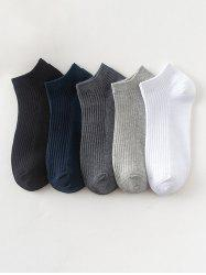 5 Pairs Solid Cotton Ribbed Ankle Socks Set -