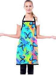 Rainbow Color Butterfly Print Waterproof Kitchen Apron -