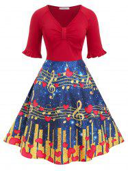 Plus Size Musical Notes Heart Print Vintage Flare Dress -