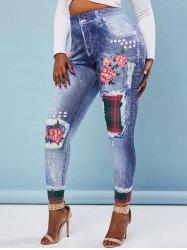 High Waisted 3D Print Floral Plaid Panel Plus Size Jeggings -