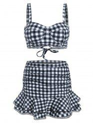 Gingham Underwire Flounce Ruched Picot Trim Three Piece Swimsuit -