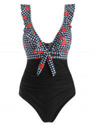 Ruffle Gingham Strawberry Print Knot One-piece Swimsuit - Noir M