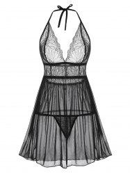 Halter Lace and Mesh Babydoll Set -