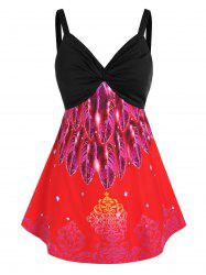 Plus Size Feather Print Front Twist Tank Top -