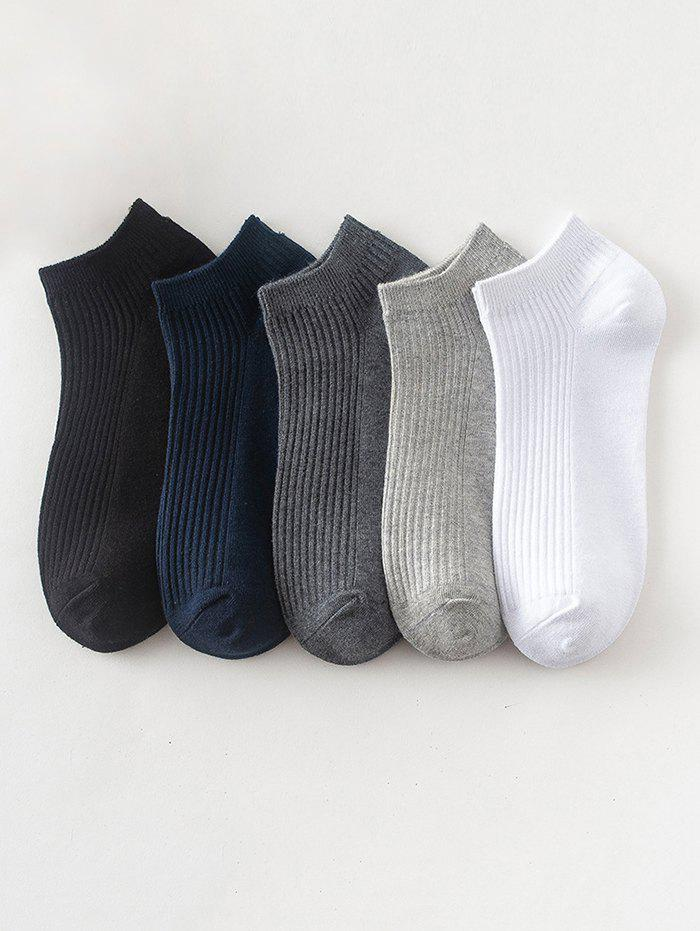 Trendy 5 Pairs Solid Cotton Ribbed Ankle Socks Set