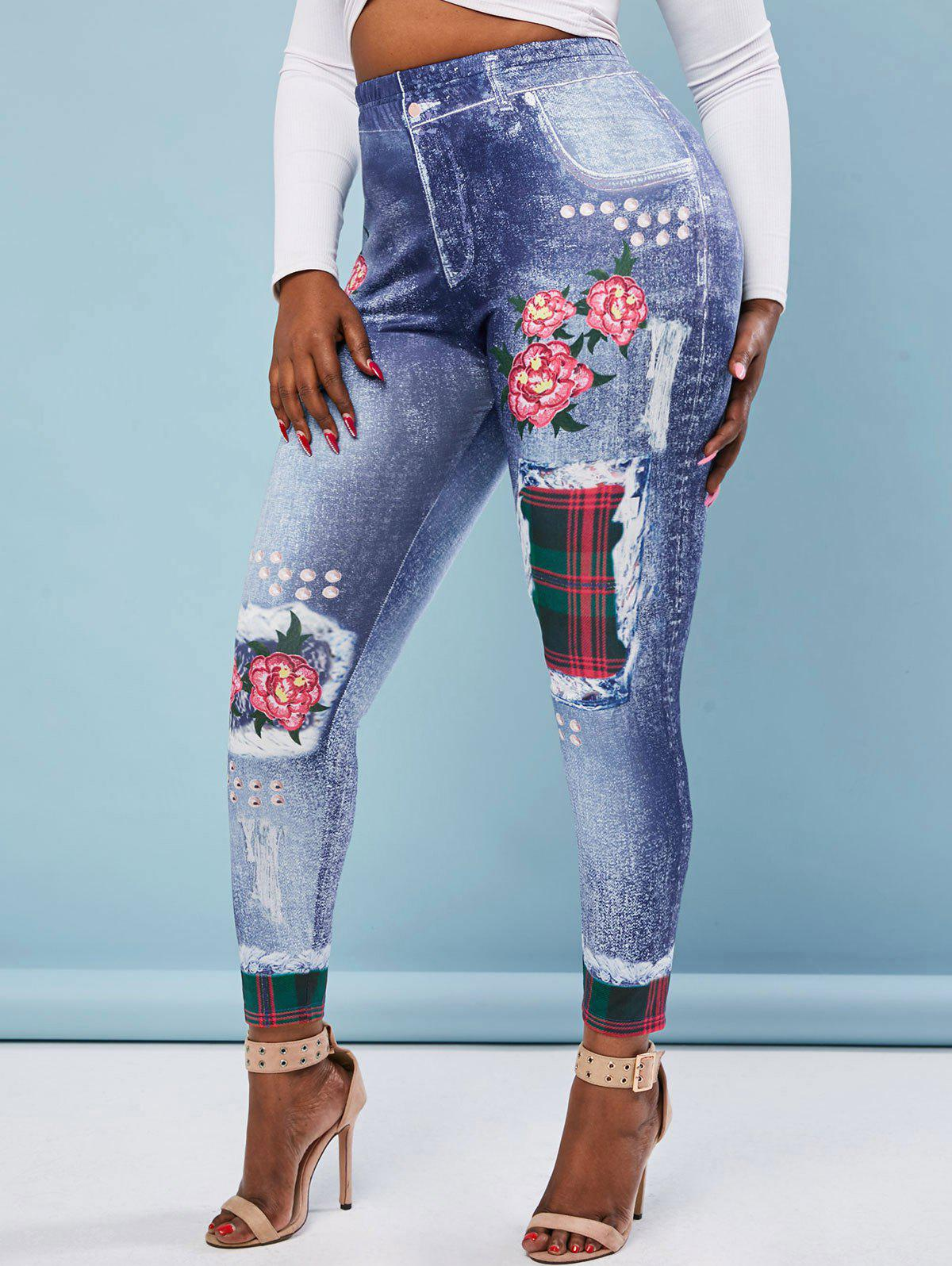 Chic High Waisted 3D Print Floral Plaid Panel Plus Size Jeggings