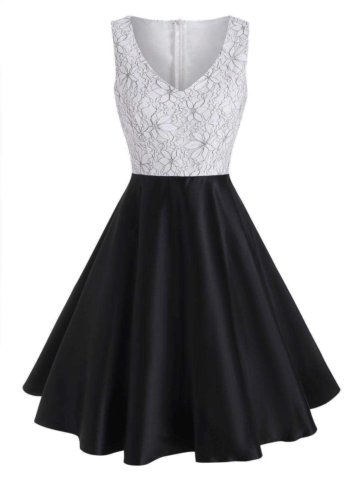 Outfits Lace Panel Silky Back Zipper Cocktail Dress